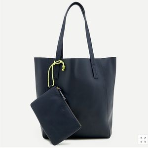 NWT J Crew Navy Leather Carryall Tote